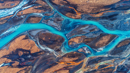 Aerial view and top view river in Iceland. Beautiful natural backdrop. Wall mural