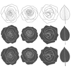 Set of black and white illustrations with roses. Isolated vector objects on white background.