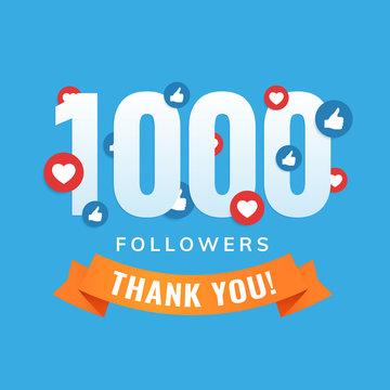 1000 followers, social sites post, greeting card vector illustration