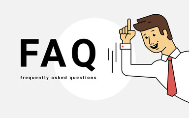Frequently asked questions concept vector illustration of young smiling man gesturing hands to letters faq. Flat business expert giving great idea or solution on gray background