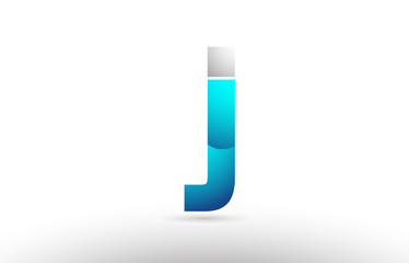 grey blue alphabet letter j logo 3d design
