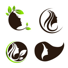 Woman Beauty Hair Spa Salon Logo Design Set