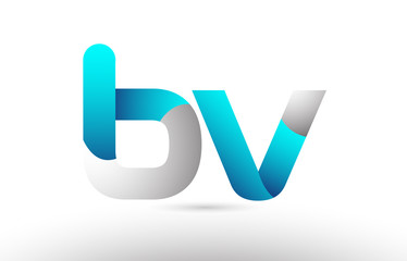grey blue alphabet letter bv b v logo 3d design