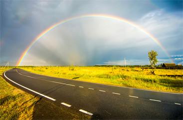 Rainbow field road landscape