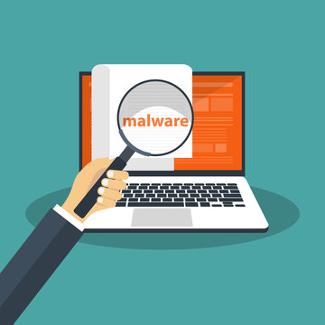 Document with malware in laptop. Concept of virus, piracy, hacking and security. Website banner of e-mail protection, anti-malware software. Flat vector illustration.