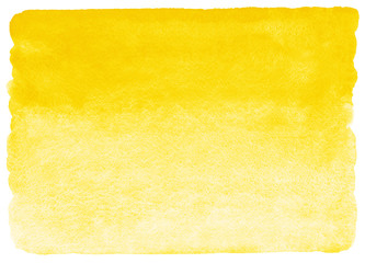Yellow watercolor horizontal gradient fill with rough, uneven edges. Watercolour stains background. Abstract painted template with paper texture.