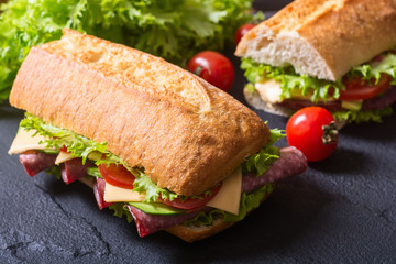 Ciabatta sandwich with lettuce