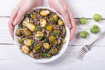 Quinoa salad with Brussels sprouts