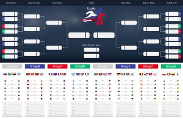 Football/soccer Match schedule vector illustration. Tableau des Matches - RUSSIE 2018