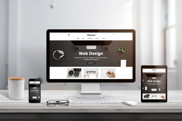 Wall Mural - Modern web site flat design theme presentation on responsive display devices.