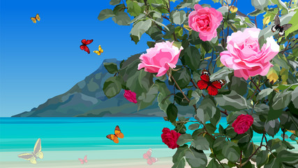 azure coast with rose bushes and flying butterflies