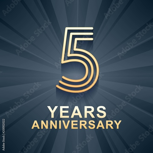 5 Years Anniversary Celebration Vector Icon Logo Stock Image And