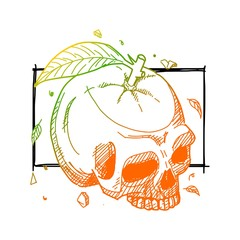 Double exposure skull orange