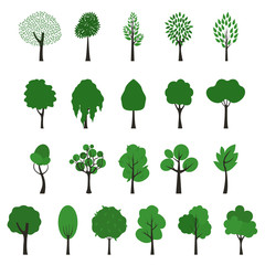 Trees icons. Vector set of trees of different shapes on white background. Green foliage and brown trunks.