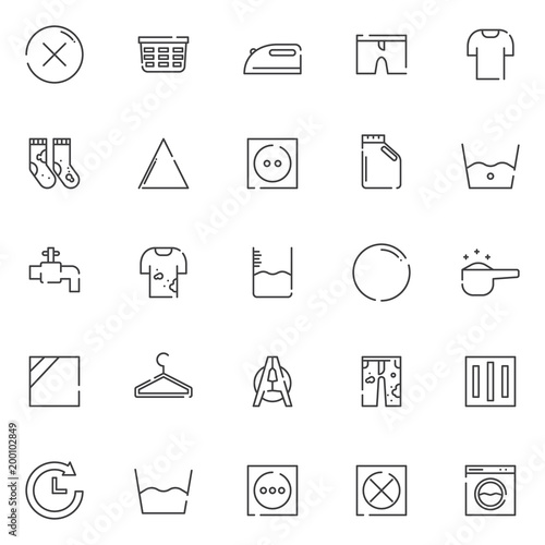 Laundry Outline Icons Set Linear Style Symbols Collection Line