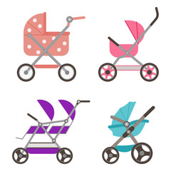 Baby doll stroller set. Buggy vector cartoon flat icons isolated on white background.
