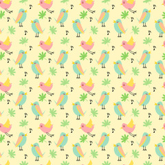seamless pattern vector of cute tiny bird on pastel colored background