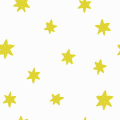 Seamless pattern with hand drawn funny stars.