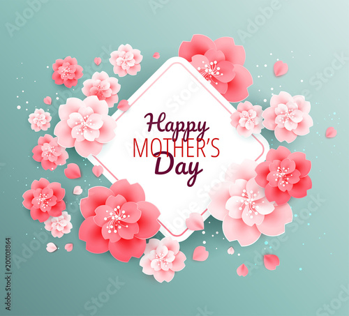 Happy Mothers Day Green Background With Beautiful Pink Flowers