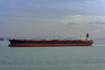 Oil supertanker in Singapore Strait