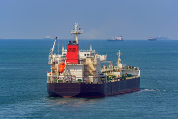 Crude oil tanker underway in sea.