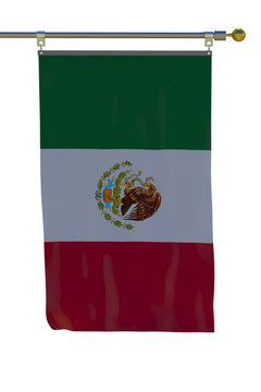 Mexico flag with flagpole on white isolate