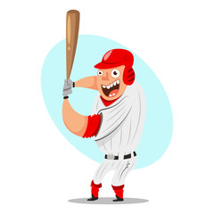 Batter baseball player. Cartoon character man with a bat and classic sportswear. Vector illustration isolated on white background.