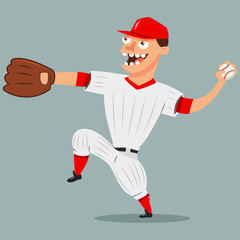 Pitcher baseball player. Cartoon character of a man in a glove gives the ball. Vector illustration isolated on white background.