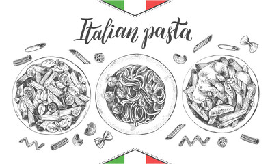 Spaghetti and penne pasta with cherry tomatoes and basil. Dish of Italian cuisine. Ink hand drawn set with brush calligraphy style lettering. Vector illustration. Top view. Food elements collection.