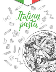 Penne pasta with cherry tomatoes and basil. Dish of Italian cuisine. Ink hand drawn background with brush calligraphy style lettering. Vector illustration. Top view. Food elements collection.