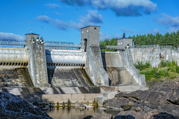 The dry stream bed of the Imatra power station dam.