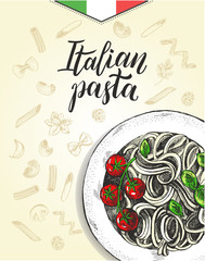 Spaghetti pasta with cherry tomatoes and basil. Dish of Italian cuisine. Ink hand drawn background with brush calligraphy style lettering. Vector illustration. Top view. Food elements collection.