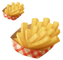 French fries in the paper basket. Vector icon isolated on white background