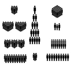 People icon set. Crowd of people in black. Elements for infographic leadership concept. Vector