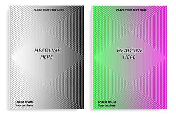 A set of templates of two books with an abstract design of covers and realistic shadows. Templates of books and design of covers are in different layers. Vector illustration.