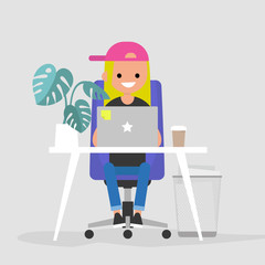Young female character working on the laptop in the office. Interior. Daily life. Millennials at work. Flat editable vector illustration, clip art