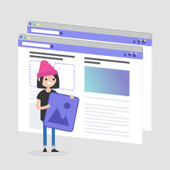 Young female character making a content for the lifestyle media. Webpage layout. Front end developer. Technology. Flat editable vector illustration, clip art