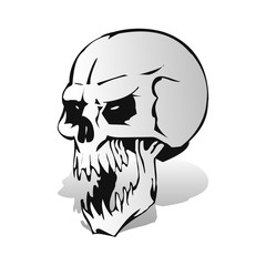 Gray aggressive skull with open jaw with shadow, silhouette on white background,