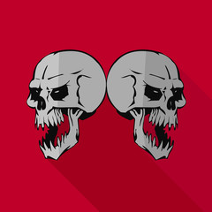 Flat icon for website, two aggressive gray skulls, on red background,
