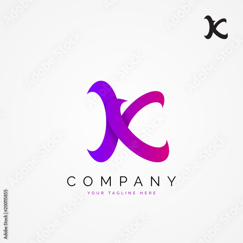 Letter K Creative Symbol In Modern Colors Vector Stock Image And