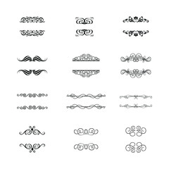 Flourishes Calligraphic Ornaments and Frames. Retro Style Design Collection. Set of Vintage Decorations Elements.