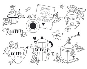 Coffee illustrations set. Cute style. Coffee machine, grinder, mug, cup. Quotes about coffee. Print, stickers, icons. Black and white line art