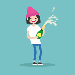 Celebration concept. Young brunette girl opening a bottle of champagne and having fun. Opened champagne sprayed / flat editable vector illustration
