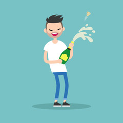 Celebration concept. Young bearded guy opening a bottle of champagne and having fun. Opened champagne sprayed / flat editable vector illustration