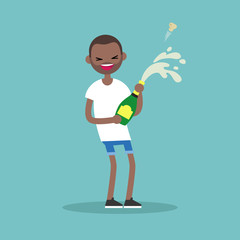 Celebration concept. Young black man opening a bottle of champagne and having fun. Opened champagne sprayed / flat editable vector illustration