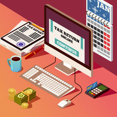 Accounting And Taxes Isometric Composition