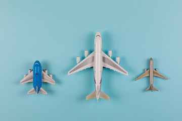 airplane model on a blue background