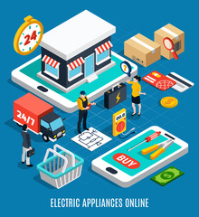 Electricity Isometric Colored 3d Composition