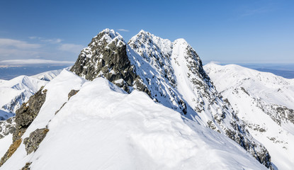 A close up view of the magnificent mountain ridge in winter colors.