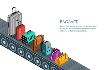Isolated vector 3d isometric illustration of conveyor belt with luggage, suitcases, bags. Concept for checked baggage